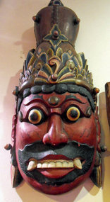 Balinese polychrome painted wooden mask