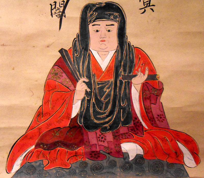 Japanese scroll painting representing Nichiren