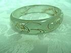Burmese carved translucent jade bracelet
