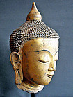 Antique Burmese gilt lacquer Buddha head