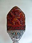 Amber and silver Vighnantaka altar piece