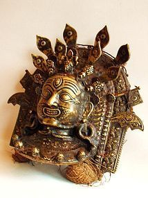 Bronze Tibetan mask of dharmapala Vajrapani