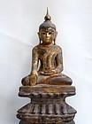 Wooden Burmese Buddha in bhumisparsa and padmasana