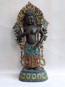 Sino-Tibetan standing enamel cloisonne bodhisattva