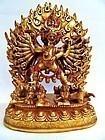 Fire gilt bronze statue of  Vajrabhairava / Yamantaka