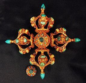 Double vajra - gilt silver, turquoise, emerald, coral