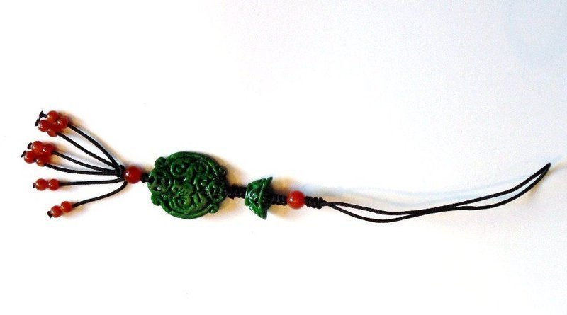Toggle or charm with jadeite carvings and jade beads