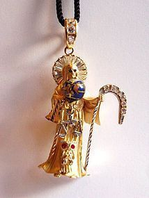 Gold pendant of Santa Muerte or Saint Death