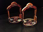 Chinese cloisonne stirrups with auspicious symbols