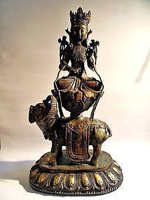 Tibetan bronze statue of Samantabhadra on his elephant