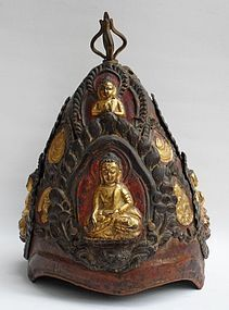 Ritual Buddhist crown with 5 Buddhas and 8 symbols