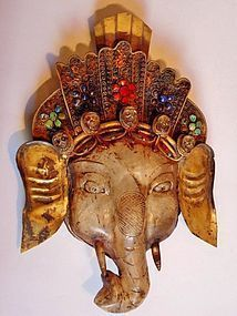 Rock crystal Ganesha head decorated with ruby, lapis lazuli, turquoise