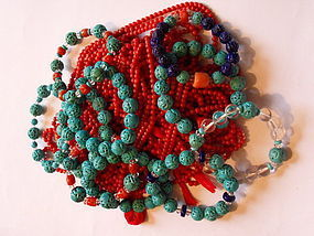 Bracelets with carved beads (turquoise, lapis lazuli)