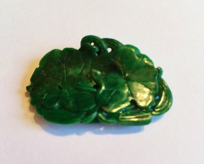 Chinese natural green jade carving of two fishes