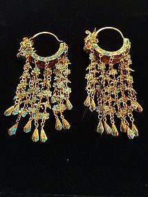 Gilt silver kingfisher feather dragon earrings