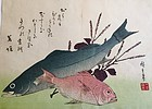Utagawa Hiroshige woodblock print of two fishes