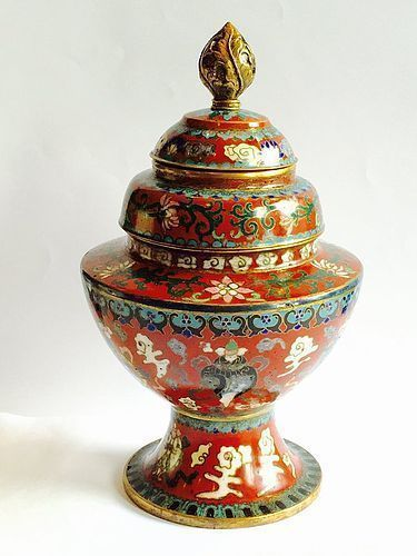 Cloisonne offering bowl from the Norbulingka temple palace