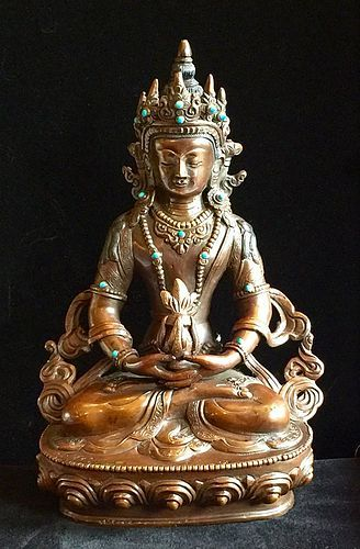 Bronze statue of Amitayus, the Buddha of boundless life