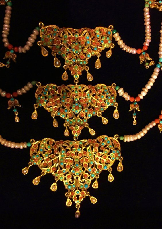 Ornamental gilt silver necklace with pearls, coral, turquoise - India