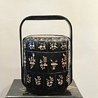 Chinese food container - wood with mother of pearl decorations