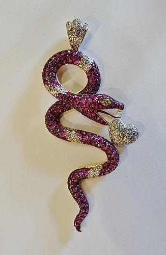 18K sapphire ruby diamond snake pendant
