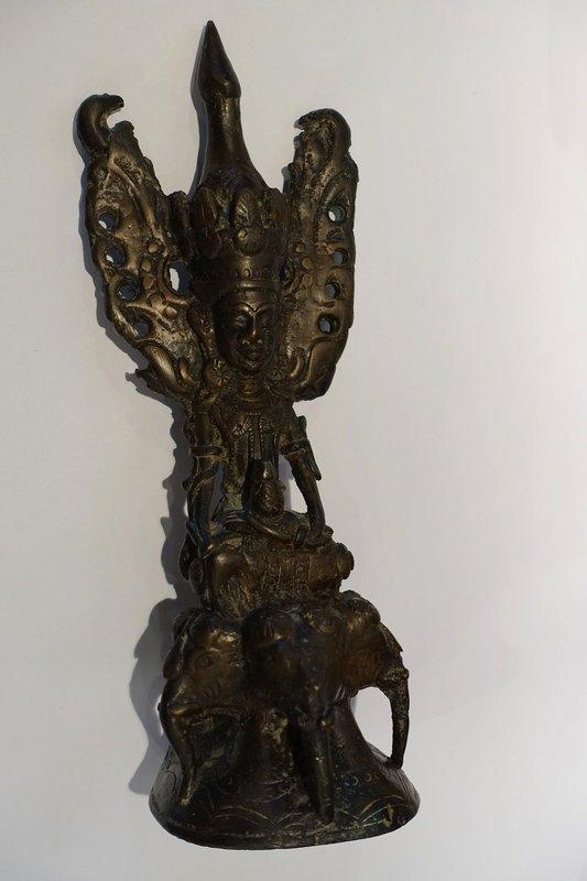 Crowned bronze Buddha statue - Burma