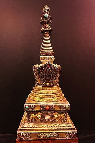 Antique bronze Tibetan chorten or stupa