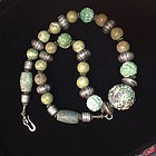 Necklace with antique Chinese turquoise and silver beads