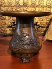 Antique Japanese bronze usubata vase