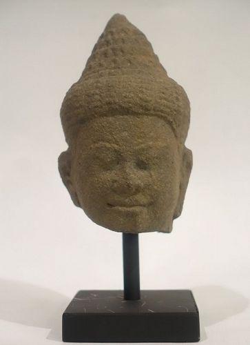 Small sandstone Khmer Buddha head