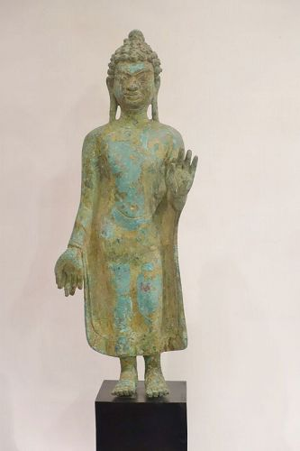 Antique bronze Thai standing Buddha statue