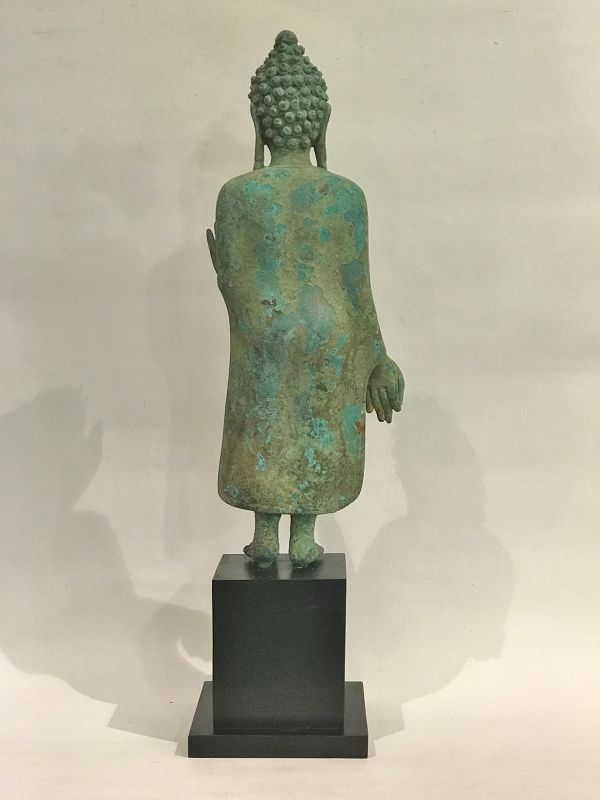 Antique bronze Thai standing Buddha statue