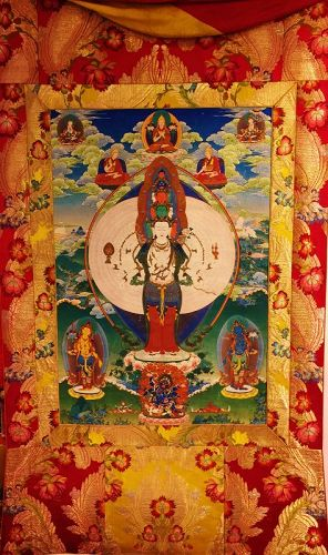 Tibetan thangka of 1000-arms and 11-heads Avalokiteshvara