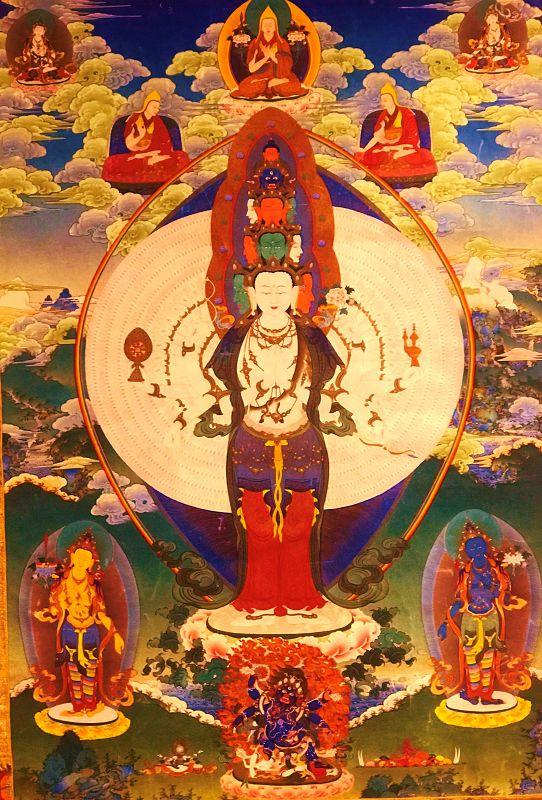 Tibetan thangka of 1000-arms and 11-heads Avalokiteshvara