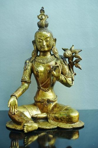 Fire guilded brass statue of Green Tara or Arya Tara - Ladakh