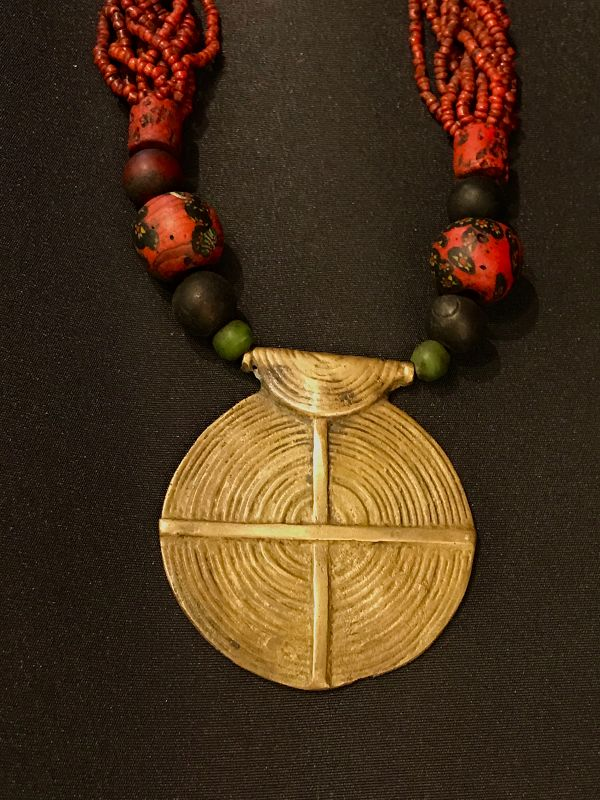 Nagaland beaded necklace with bronze ornament