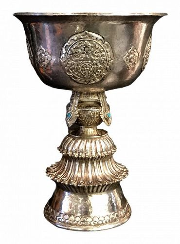 Silver Tibetan butter lamp