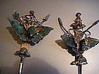 Two Chinese gilt hairpins: jade butterflies, red coral