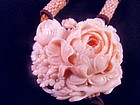 Carved angel skin coral necklace - Chinese