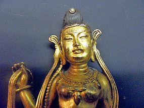 Fire gilt bronze Maitreya statue, Tibet