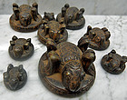 Bronze Burmese opium weights - series of 9 turtles