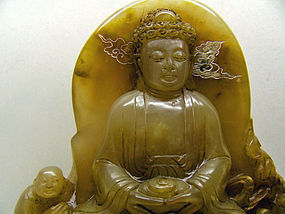 Shoushan stone Buddha on lotus