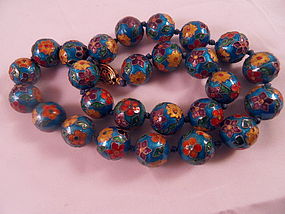 String of  silver cloisonne beads