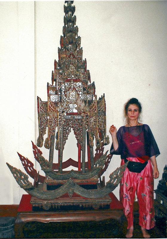 Burmese pagoda, wood carving with glass inlay