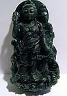 Chinese dark green jade Bodhisattva pendant
