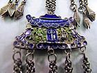Chinese silver cloisonne (blue and green) chatelaine