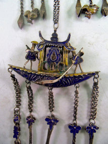 Chinese silver cloisonne chatelaine