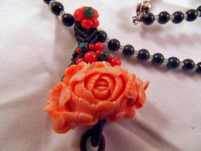 Blood coral flower necklace with jade beads
