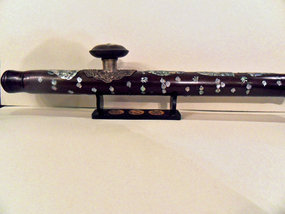 Wooden opium pipe with mother of pearl, Laos