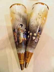 Two Japanese painted porcelain wall pocket vases